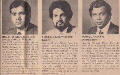 Le 11 juin 1982, Prof. Armoogum Parsuramen présentait aux élections législatives pour la 1ère fois
