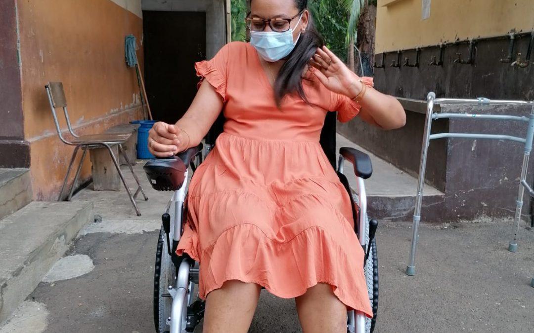 [Video] Marie Noëlla, a teacher receives her gift of mobility – motorized wheelchair